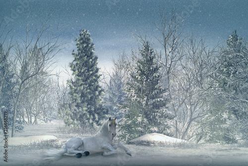 Obrazy Jednorożec   piekny-zimowy-krajobraz-z-lezacym-bialym-jednorozcem