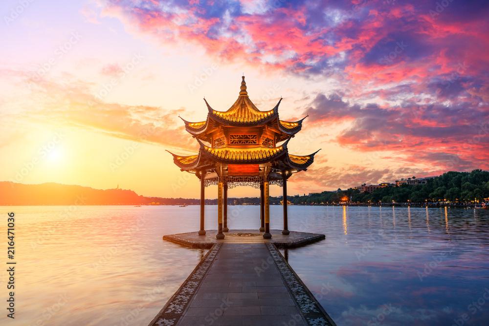 Fototapeta Hangzhou west lake jixian pavilion at sunset