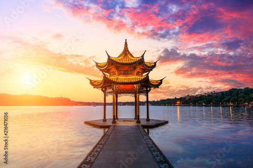 Hangzhou west lake jixian pavilion at sunset Wallpaper Mural