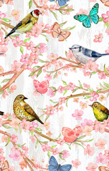 Fototapetafancy seamless pattern with birds on twigs of flowering cherry and butterflies. watercolor painting
