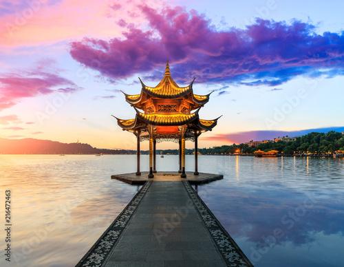 Fotografia Hangzhou west lake jixian pavilion at sunset
