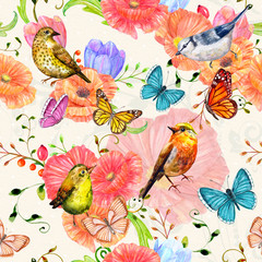 Fototapetafancy seamless texture with flowers and birds. watercolor painting