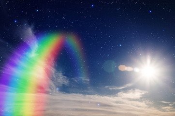 Colorful rainbow in clouds with star and sun.