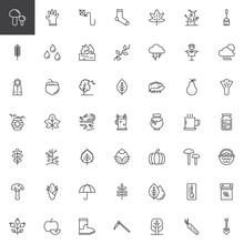 Autumn Elements Outline Icons ...