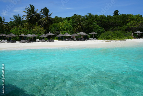 Canvas Prints Green coral View of a beautiful beach with turquoise water in Baa Atoll, Maldives