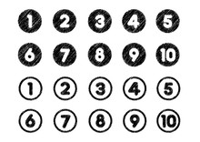 Chalk Drowing Number Icon Set ...