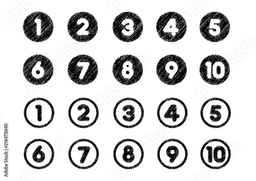 Billede på lærred chalk drowing number icon set (from 1 to 10)
