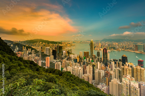 Hong Kong city business downtown skyline from Lugard outlook before sunset Canvas Print