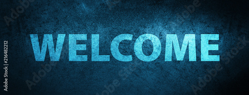 Photo  Welcome special blue banner background
