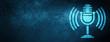 Leinwanddruck Bild - Mic icon special blue banner background