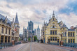 canvas print picture - Morning in the streets of Ghent in Belgium