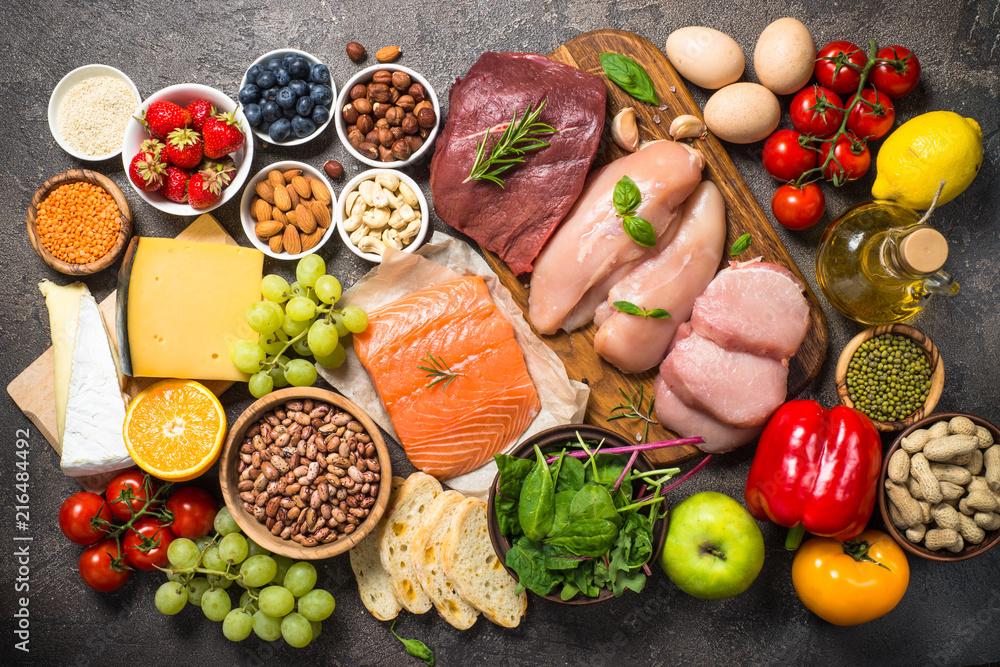 Fototapety, obrazy: Balanced diet food background.
