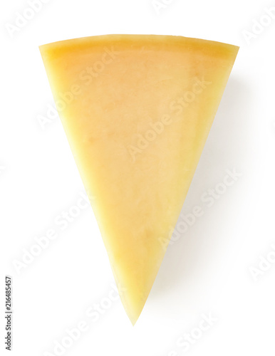Parmesan cheese isolated on white, from above
