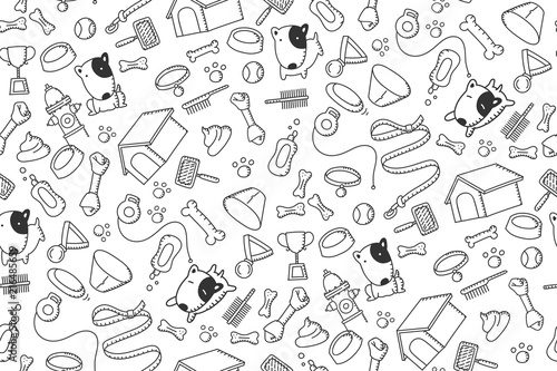plakat Seamless pattern background Dog and equipment kids hand drawing set illustration black color isolated on white background