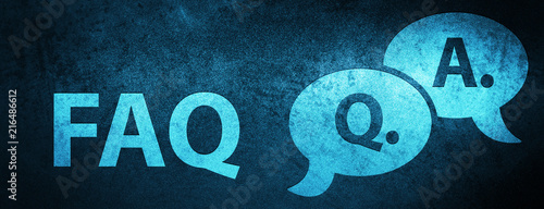 Faq (question answer bubble icon) special blue banner background Wallpaper Mural