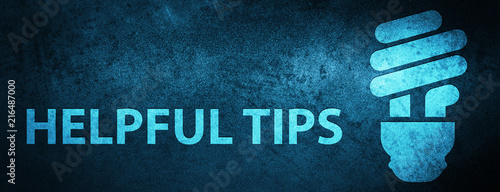 Fotomural Helpful tips (bulb icon) special blue banner background