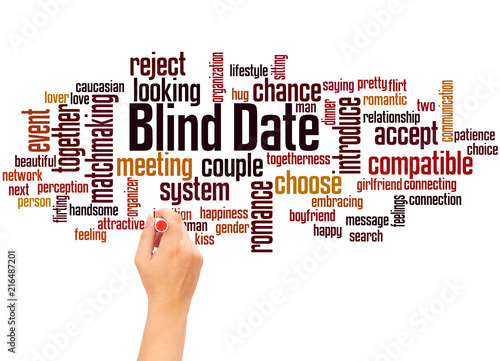 Photo Blind date word cloud and hand writing concept