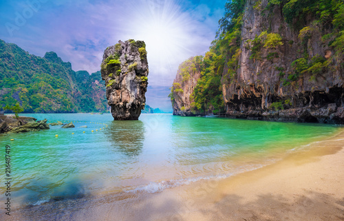 Beautiful paradise place on James Bond island in Thailand, Khao Phing Kan stone