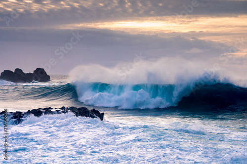 Breaking wave on Tenerife coast, Canary Islands, Spain