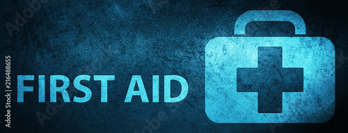 Tablou Canvas First aid special blue banner background