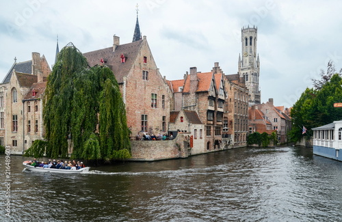 Deurstickers Brugge Canal and famous Belfry tower in the historic center of Bruges, Belgium