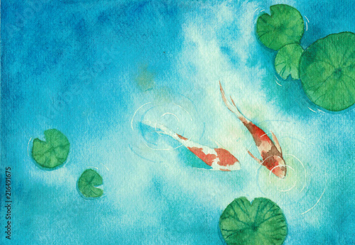 Watercolor hand painting, two koi carp fish in pond, symbol of good luck and pro Canvas-taulu