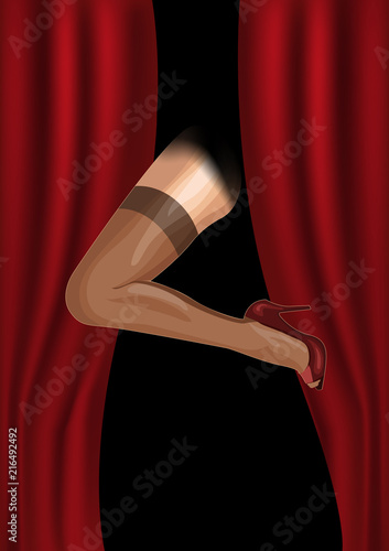 Female foot is shown from the curtain,Cabaret retro poster Canvas-taulu