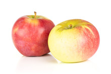 Group Of Two Whole Fresh Red Apple James Grieve Variety Isolated On White Background