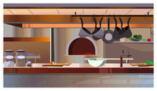 Restaurant Kitchen With Oven And Counter Vector Illustration. Modern Workspace With Hanging Cooking Pans And Crockery On Table. Interior Concept