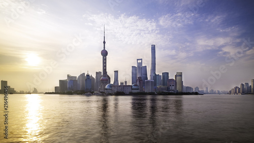Spoed Foto op Canvas Shanghai Shanghai city skyline Pudong side looking through Huangpu river on morning time.