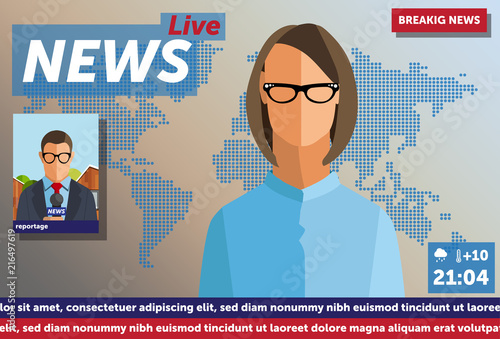 Illustration Newscast With Anchorman Woman Anchorman On Tv