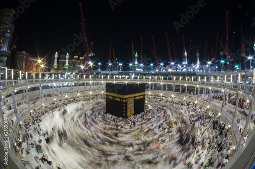 WIde angle view of Muslim pilgrims circumambulate the Kaaba counter-clockwise at Masjidil Haram in Makkah, Saudi Arabia.