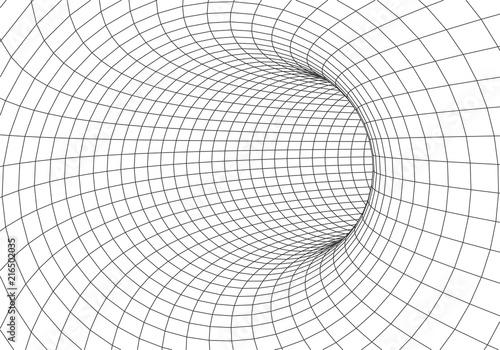 3D tunnel. Vector abstract lines pattern. Optical illusion.Grid. Vector illustration