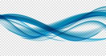Abstract Blue Wave Set On Transparent  Background. Vector Illustration