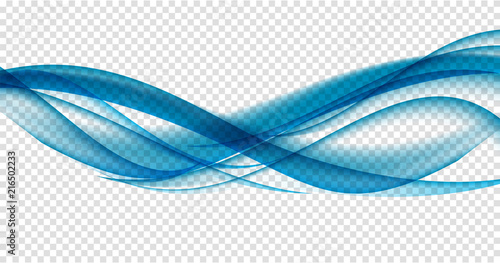 Poster Abstract wave Abstract Blue Wave Set on Transparent Background. Vector Illustration
