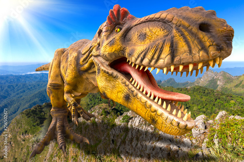 3D rendering scene of the giant Tyrannosaurus rex  dinosaur destroy the park Canvas Print