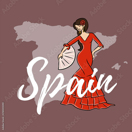 Photo  map of spain flat with flamenko dancing woman
