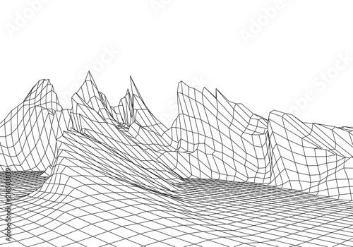 Fotografie, Obraz  Wireframe landscape wire