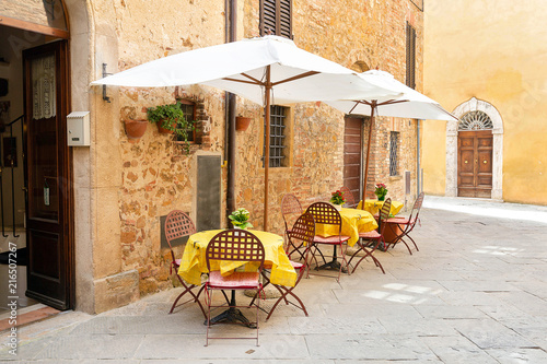 Foto op Canvas Drawn Street cafe Street in Pienza, Tuscany