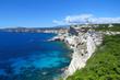 Deep blue sea and white cliffs at Bonifacio, Corsica, France