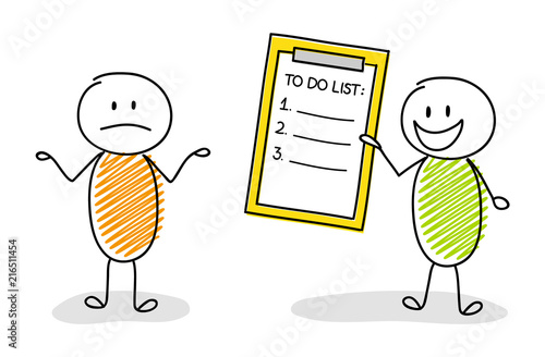 Group of cartoon characters showing to do list. Vector. Poster