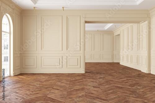 Valokuvatapetti Empty modern classic beige interior room.