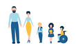 Set of flat people icons - male father man , female mother woman , kids school children , one of them is disabled child on wheelchair for barrier-free environment and tolerance to invalids
