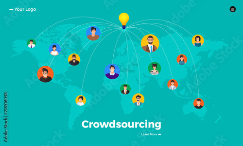 Fototapety, obrazy: Flat design concept crowdsourcing. Vector illustrate.