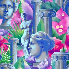 Design With Venus De Milo Sculpture, Column And Flowers