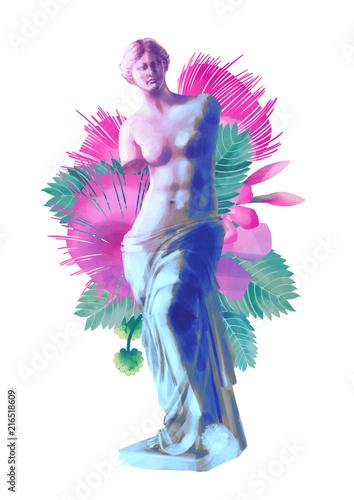 Fotografía Venus de Milo statue and albizia flowers