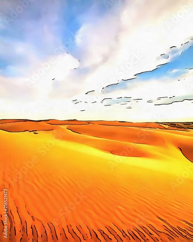 Deurstickers Oranje eclat Oil painting. Art print for wall decor. Acrylic artwork. Big size poster. Watercolor drawing. Modern style fine art. Hot desert landscape. Summer bright view.