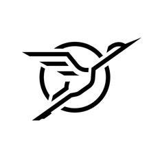 Flying Stork, Linear Logo.