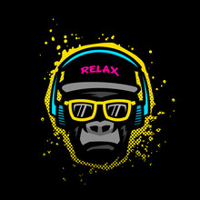 Monkey With Glasses And Headphones. Illustration In Bright Colors On Grunge Texture Background.