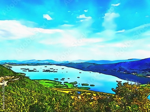 Spoed Foto op Canvas Turkoois Oil painting. Art print for wall decor. Acrylic artwork. Big size poster. Watercolor drawing. Modern style fine art. Wonderful mountain landscape. Blue sky. Wild nature. Beautiful lake.